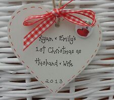FIRST/1st CHRISTMAS TREE DECORATION AS HUSBAND & WIFE PERSONALISED 8cm