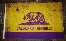 3x5 California Republic La Lakers purple and Gold Flag 3'x5' Brass Grommets