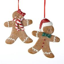 KURT S. ADLER SET OF 2 LOT CLAYDOUGH GINGERBREAD BOY & GIRL CHRISTMAS ORNAMENTS