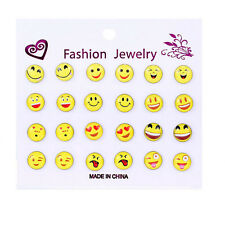 12 Pair Funny Smile Emoji Cabochon Stud Earrings for Women Jewelry Cute Gift