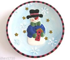 EUC HAND-PAINTED EMBOSSED SNOWMAN DECORATIVE PLATE BY ALCO 8 INCHES