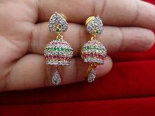 Trendy Ruby Emerald AD Jhumka Jhumki Designer Dangler Earrings Stud AD3040E