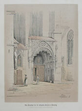 Auer: Original Farblithografie Brautpforte St. Sebald Nürnberg Franken; 1857