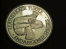 world endangered species - Leatherback turtle coin