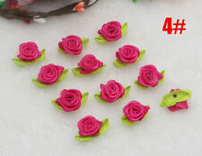 30pcs Satin Ribbon Rose Flower DIY Craft Sewing Christmas Wedding Appliques@4