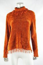RAFAELLA Burnt Orange Fringe Trim Cozy Chenille Turtleneck Sweater M