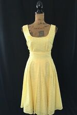 Calvin Klein dress 10 Large yellow eyelet embroider dot empire full pleat skirt