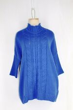 LEO NICOLE Tunic Cable Knit Sweater SMALL Blue/Purple Slouch Shoulder Mock Neck