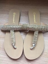 Gold Diamonte Sandals/flip Flops Size 4