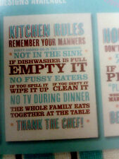 "Super Retro List of ""Kitchen Rules"" Message Vintage Style Cream Tea Towel BNWT."