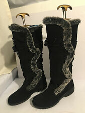 KHOMBU WATERPROOF knee high suede winter size 6 WEDGE LOW  womens boots SHOES