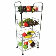 BRAND NEW 4 Tier Trolley Chrome Vegetable Fruit Kitchen Storage Rack Cart With W
