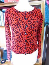 Collectif 1950s-style red leopard print cardigan, L, rockabilly, psychobilly