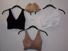 "Rhonda Shear 3-pack ""Ahh"" Bra with Removable Pads-Neutral-MEDIUM-New"