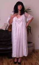 *BEAUTY* LONG BRIDAL ROBE NIGHTGOWN SET SHORT SLEEVE LACE PEIGNOIR 5XL Limited!!