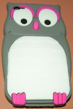 Cartoon Owl Design Heavy Silicone Case for Apple iPhone 4/4s, Gray/White/Pink