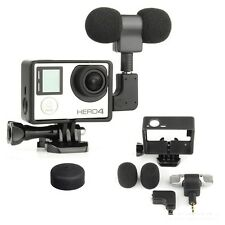 Gopro External Microphone Mic + Border Frame Mount Kit + Adapter for Hero 4 3+ 3