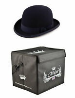 Quality Black Wool Felt stiff bowler hat (Major Wear) satin lined with Hat Box