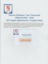 LEM NEWCOMB Millwall 1928-1935 molto raro originale firmato a mano Taglio/Card