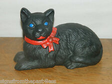 "Large Heavy 7"" Cast Iron Sitting Cat Door Stop Penny Bank Cast Iron Black~New"