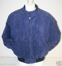 Vintage Headin West Breier Hipster Cafe Blue Suede Size 46 Leather Jacket Coat