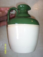 "Green Whiskey Jug Buchan Portobello Scotland Stoneware 7-1/4"" High"