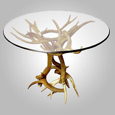 REAL ANTLER MULE DEER/WHITETAIL END TABLE, RUSTIC LIGHTING, CHANDELIER LAMP