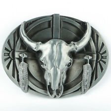 Senmi Vintage Silver Native American Arrowhead Belt Buckle Ceremonial Buffalo A