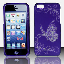 Butterfly on Purple Apple Iphone 5, 5S Case Hard  Cover Protector Snap on
