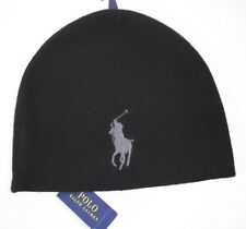 NWT POLO RALPH LAUREN OS Men's Black w/Gray Big Pony ACTIVE ROY Winter Hat
