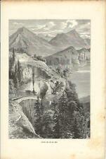 Stampa antica MONTE RIGHI FERROVIA Schwytz Svizzera Switzerland 1890 Old Print