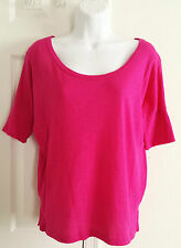 Pretty fuchsia pink L Large scoop neck top banded short sleeve shirt Gap modal