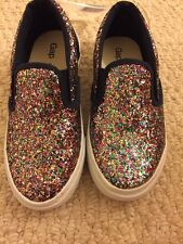 NWT Gap Kids Girls Blue Glitter Slip On Sneakers Size 11