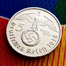 1938 A 5 Mark WW2 German Silver Coin Third Reich Reichsmark