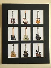 "CLASSIC GUITARS 14"" BY 11""  PICTURE MOUNTED READY TO FRAME BEATLES PINK FLOYD"