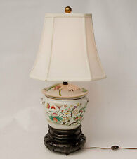 Lovely Antique Chinese Hand Painted Porcelain Lotus Design Table Lamp Wood Base