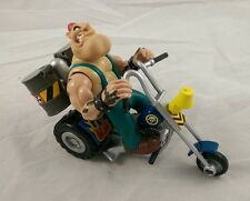 Galoob Biker Mice From Mars Greasepit Action Figure & Grunge Motorcycle EUC
