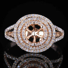 GENEROUS BRILLIANT DIAMOND SOLID 10K YELLOW GOLD SEMI MOUNT WEDDING HALO RING