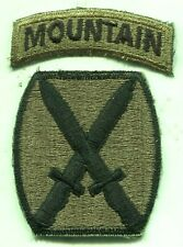 Early Vietnam Era US Army 10th Mountain Div Subdued Patch W/Tab Cut Edge