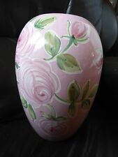 GORGEOUS, LARGE ITALIAN HAND PAINTED PINK VASE CIAO ITALYA BY BELLINI STARBUCKS