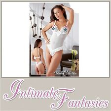 White Sexy Crotchless Peephole Body Valentine Lingerie Basque Thong Size 18 20