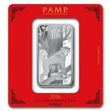 PAMP Suisse Lunar Year of the Monkey 2016 100 g gram .999 Silver Bar (in Assay)