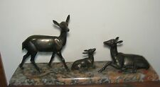 LEDUC ART DECO FIGURAL SPELTER SCULPTURE DEER GRANITE BASE STATUE BRONZE FINISH