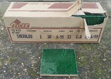 "Elikea Ceramiche 5"" × 5"" Italian Tiles, Box of 33 in Textured Emerald Green"