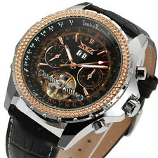 JARAGAR Men Luxury Calendar Automatic Mechanical Leather Mens Tourbillon Watches