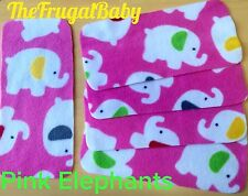 Fleece Reusable Rectangular Nappy Liners New x20 Pink Elephants ⭐️2 Free Wipes⭐️
