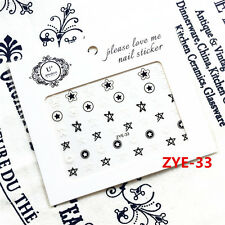 1 Sheet Adhesive 3D Nail Art Sticker Black White Pentagram Manicure Decor Tips