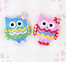 6 x Cute OWL Bird Kawaii Flatback Cabochon Embellishments Decoden Craft Supplies