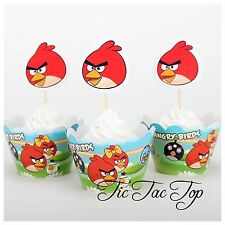 12x Angry Birds Cupcake Toppers + Wrappers. Party Cake. Party Supplies