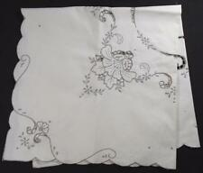 VINTAGE MADEIRA LT ECRU LINEN TABLE CLOTH, TABLE TOPPER W/TAUPE HAND EMBROIDERY